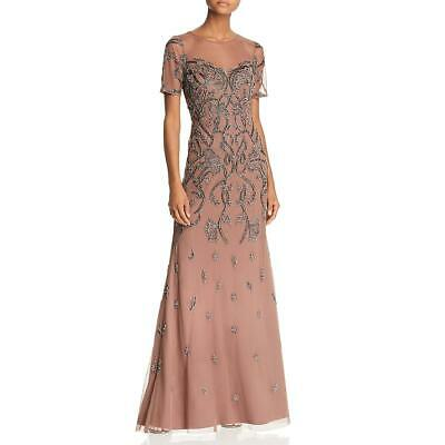 $39.09 • Buy Aidan Mattox Womens Taupe Beaded Illusion Formal Dress Gown 2 BHFO 2995