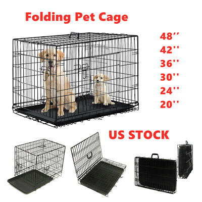$21.99 • Buy Extra Large Dog Crate 48 Kennel Folding Pet Cage 2 Doors XXL Metal Wire Tray Pan