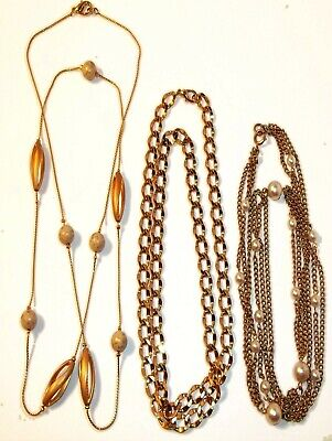 $18.99 • Buy Emmons Anne Klein Long Gold Tone Chain Necklace Lot Of 3 Vintage Signed Unsigned