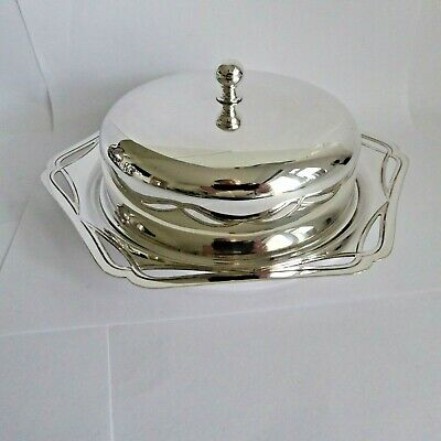 Vintage Silver Plate Epns  Butter Dish Pierced Decoration To Rim By  J Rodgers • 7.99£