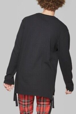 $9.97 • Buy X-SMALL (XS) Men's Black Long Line & Sleeve Thermal Crew Pullover Tee Warm Shirt