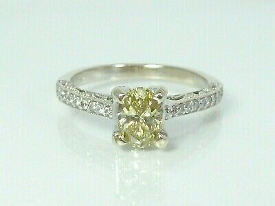 $899.99 • Buy SOLID 14K White Gold Natural Fancy Yellow Oval Diamond Ring 0.71 Ct. Center S6.5