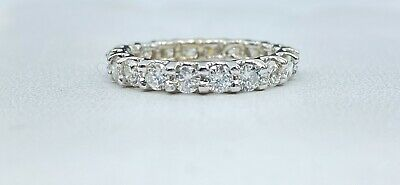 $1100 • Buy 1.69 Ct NATURAL 20 X DIAMOND ETERNITY Band Ring SOLID 14k White GOLD (size 5.5)