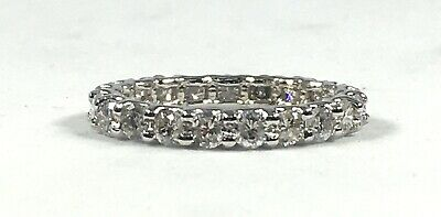 $1100 • Buy 2.06 Ct NATURAL 21 X DIAMOND ETERNITY Band Ring SOLID 14k White GOLD (size 7.5)