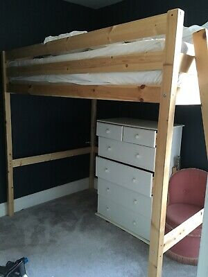 Small Double Pine High Sleeper Loft Bed Frame • 99£