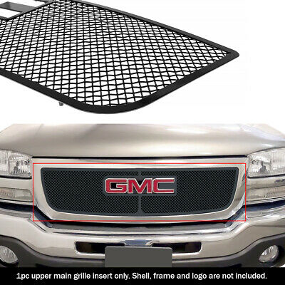 $109.99 • Buy Fits 2003-2006 GMC Sierra 1500/2500/07 Classic Upper Stainless Black Mesh Grille