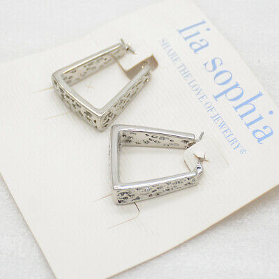 $ CDN9.67 • Buy Lia Sophia Jewelry Silver Tone Trapezoid Geometric Shapes Openwork Hoop Earrings