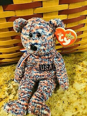 $425 • Buy NWT RARE Ty USA Bear Collectible 2000 Beanie Baby Red White Blue With Errors