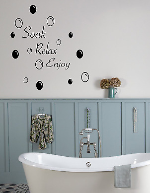 Soak Relax Enjoy Wall Stickers And Bubbles Decals Bathroom Home Art Decor Vinyl  • 3.40£