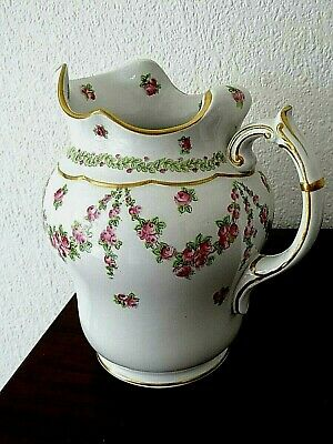 Superb Condn. Hand-painted Victorian Rose Jug 7.5 Tall X 6.5 Wide • 16.50£