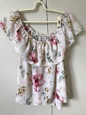AU7.88 • Buy Hollister Blouse Top SiZe S 8 Ivory Pink Green Floral