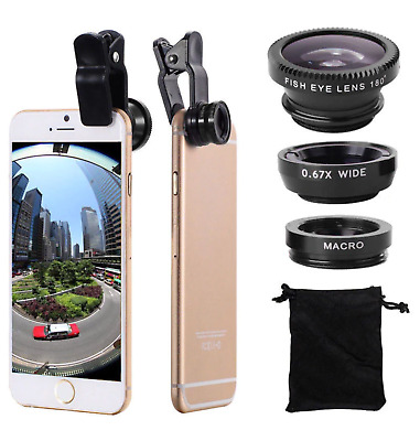£5.99 • Buy 3 In 1 Fish Eye Wide Angle Macro Clip On Camera Lens Zoom For IPhone 7 8 X XR XS