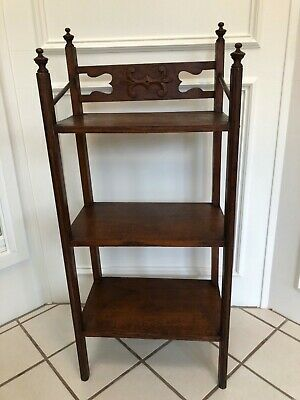 $425 • Buy Antique Arts & Crafts Dark Oak 3 Shelf Bookcase Book Shelf Hand Carving