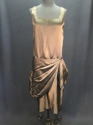 $41.99 • Buy Authentic Vintage 1920s Chocolate Brown Silk Flapper Dress