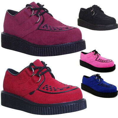 Women Goth Punk Creeper Shoes 2 Eyelet Round Toe Lace Up Ladies Goth Shoes Size • 14.99£