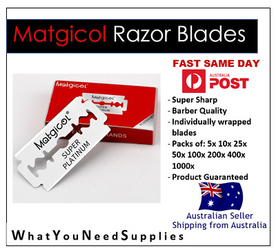 AU1.99 • Buy Matgicol Super Platinum Ultra Sharp Double Edge Cut Throat Barber Razor Blades