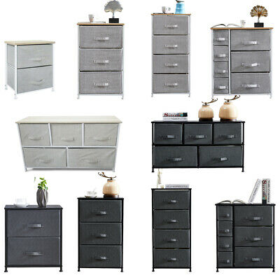 Chest Of 2/3/4/5/7 Drawers Fabric Storage Cabinet Side Table Standing Home Grey • 45.99£