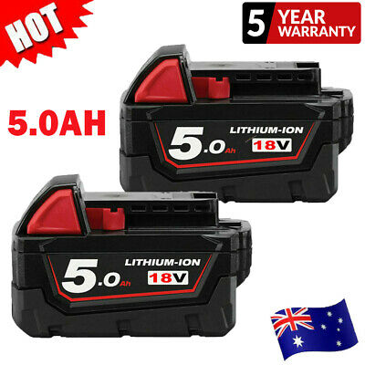 AU81.99 • Buy 2X For Milwaukee 18V XC5.0 M18 Li-ion Battery Replace M18B5 48-11-1852 5.0Ah New