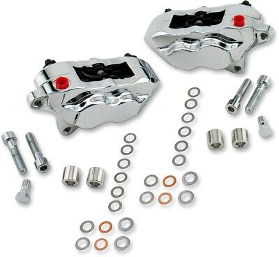 $611.43 • Buy Hawg Halters 4-Piston Calipers Dual Disc Front Chrome #FKDDCC551 Harley Davidson