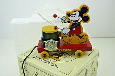 $59.99 • Buy DISNEY FOSSIL MICKEY MOUSE WATCH W/ Wood Toy MINT Limited Edition 1106 Of 15000