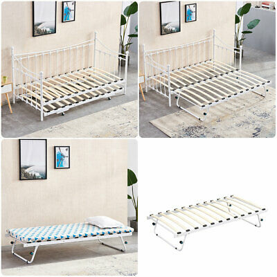 £170.99 • Buy Day Bed Single Guest Bed 2 In 1 Bed With Pull Out Trundle Metal Frame UK White