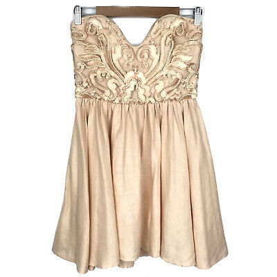 AU95 • Buy Alice McCall Strapless Lace Mini Cocktail Dress 10 Champagne Nude 100% Linen EUC