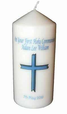 1st Holy Communion Candle Personalised Gift Blue Cross For Boy Keepsake   • 14.99£