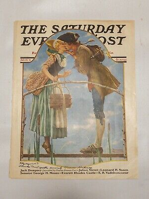 $ CDN348.89 • Buy Original Saturdany Evening Post Cover Page July 25, 1931 Signed Norman Rockwell