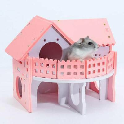 Creative Wooden Plastic Guinea Pig Hamster Swing Nest Ladder Villa Bed Cage YU • 7.52£