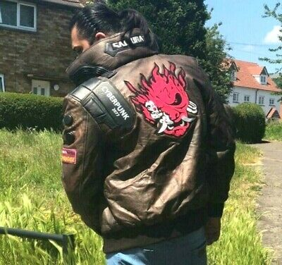 $ CDN541.78 • Buy Cyberpunk 2077 LED Collar Distressed Brown Leather Costume Embroidery Jacket Men