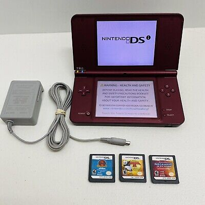 $79.95 • Buy NINTENDO DSI XL Burgundy Console With Charger & Games Lot - Works 100% Tested!
