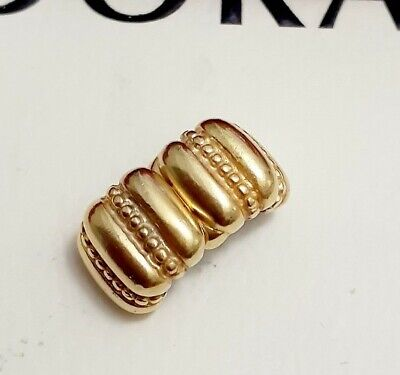 AU2.25 • Buy Authentic Pandora 24kt Gold Plated Dots And Ridges Crazy Fixed Clip Charm 790446