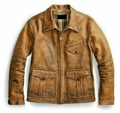1920's Newboy Vintage Look Distressed Tan Real Leather Jacket Mens Coat / XS-5XL • 169£