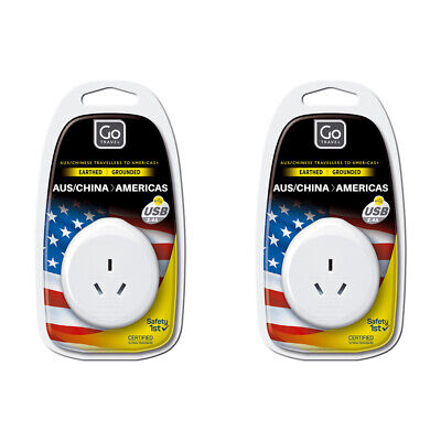 AU28 • Buy 2x Go Travel Power Outlet Socket W/2.4A 5V USB Port AUS/NZ/CHINA To USA Adapter