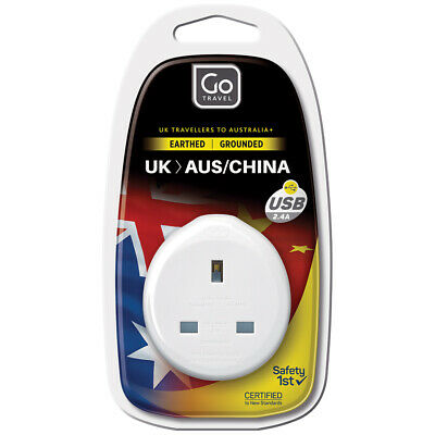 AU14 • Buy Go Travel Power Outlet Socket W/2.4A 5V USB Port UK To AUS/NZ/CHINA Adapter