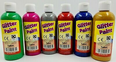 6 X 200ml GLITTER Paint Childrens Ready Mixed Non Toxic Kids Paints Bottles • 13.99£
