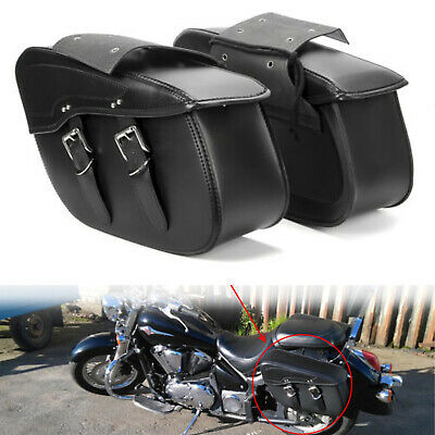 $77.98 • Buy 2Pcs Black PU Leather Luggage Saddle Bags For Harley Road Glide Heritage Softail