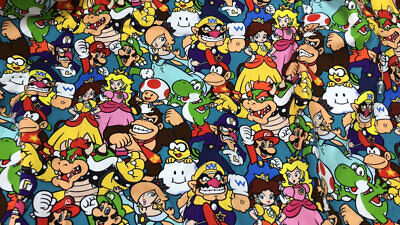 $25.99 • Buy Super Mario Brothers Fabric 100% Cotton Nintendo Game 1/2 Yard 18 X 58'' Limited