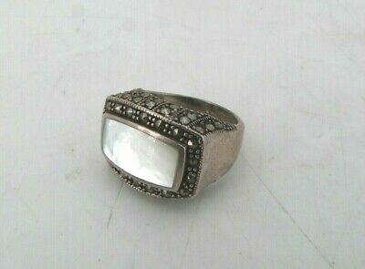 $20 • Buy .925 Sterling Silver, Marcasite & Mother Of Pearl Ring - Size 7 - 8.3 Grams