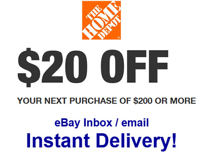 $0.99 • Buy Home Depot Coupon $20 OFF $200 [[Online Use ONLY]] -Very_Fast_Sent_1Sec~~