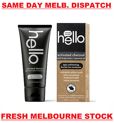 AU24.95 • Buy HELLO ORAL ACTIVATED CHARCOAL Teeth Whitening Toothpaste Fluoride Free Vegan NEW
