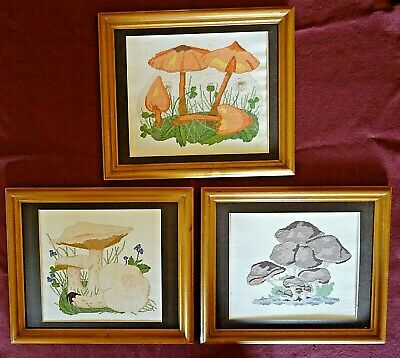 Completed Framed Cross Stitch Finished Mushrooms - 3 Designs • 5.99£