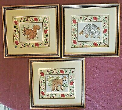 Completed Framed Cross Stitch Finished Animals - Fox, Hedgehog Or Squirrel • 7.99£