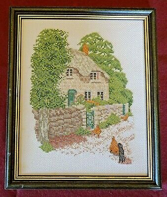 Finished Vintage Framed Cross Stitch Picture Of English Cottage With Chickens • 4.99£