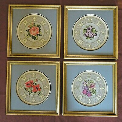 Completed Framed Cross Stitch Finished Flower Plates - 4 Designs • 6.99£