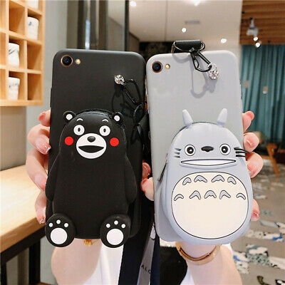 3D Cartoon Totoro Coin Purse Silicone Wallet+Strap Case Cover For Various Phone • 4.99£