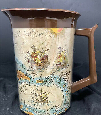 AU21.28 • Buy West Bend Thermo Serv Insulated Server Pitcher Jug Old World Map Tiki Bar