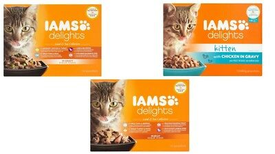 Iams Delights Land & Sea Collection Wet Adult Cat Kitten Food Pouches - 12 X 85g • 8.49£