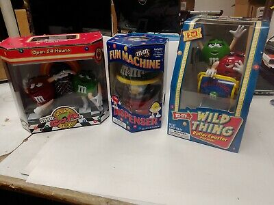 $49.95 • Buy M& M Lot Of 3 Candy Dispenser Collectibles Wild Thing, Fun Machine, Rocking Cafe