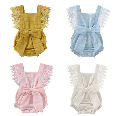 $9.41 • Buy UK Newborn Infant Baby Girl Boy Solid Lace Bow Romper Bodysuit Clothes Outfits